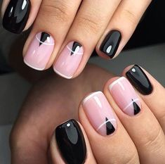 Easy & Simple Gel Nail Art Designs 2018 - style you 7 Hot Nails, Pink Nails, Hair And Nails, Black Nails, Black Polish, Simple Gel Nails, Gel Nail Art Designs, Nails Design, Square Nail Designs