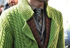 Tommy Ton's Men's Street Style: Milan: Style: GQ mix of textures and prints  Mezcla de estampados y texturas
