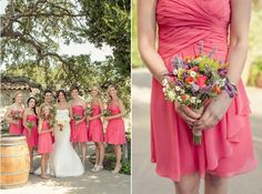 The bright poppies in the bridesmaids multicolored bouquets tie the look together with their cheery coral short dresses