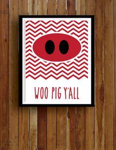 Printable Arkansas Razorback Chevron Woo Pig Ya'll - $5.00