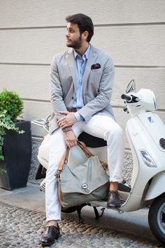 White & Grey scooter men lookbook jeans jacket italian