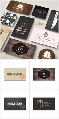 Unique and customizable business cards for catering companies, chefs, food businesses and restaurants. Business Card Maker, Unique Business Cards, Business Card Logo, Business Card Design, Catering Logo, Catering Business, Catering Companies, Restaurant Branding, Restaurant Design