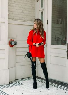 6eb824f5187 red turtleneck sweater dress with black thigh high boots. Visit Daily Dress  me at dailydressme