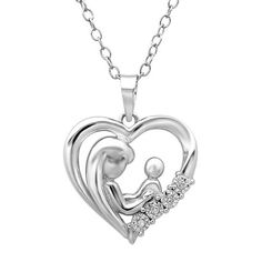 (PRECIOUS BOND) MOTHER & CHILD LOVE:  Mother Child Diamond Heart Pendant-Necklace in Sterling Silver: Jewelry
