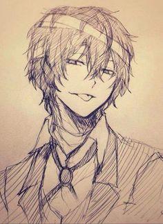 Dazai Osamu sketch (credit to artist)