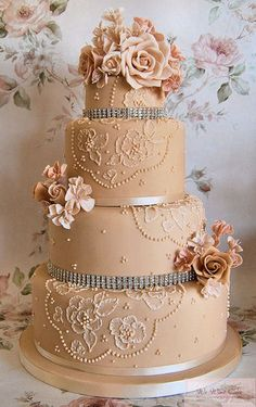 Lace and diamonds wedding cake (This is honestly my favorite looking cake so far, however I don't like the color, obviously it must be white, red, black, and/or gold combinations.