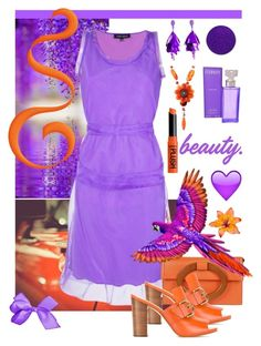 """Bright Purple And Orange"" by giovanina-001 ❤ liked on Polyvore featuring Gloria Coelho, Michael Kors, MICHAEL Michael Kors, Oscar de la Renta, Marina Fossati, NYX, Calvin Klein and easydresses"