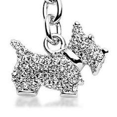 Girls Swarovski Crystals Large Unique Scottish Terrier Dog Animal Charm Keychain | eBay
