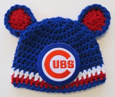 CUBS Baseball Crochet Hat,  Newborn to 12 months, photo prop hat with ears, baby's 1st hat, MLB Chicago Cubs hat, cubs baseball patch by kimcrochetcreations on Etsy