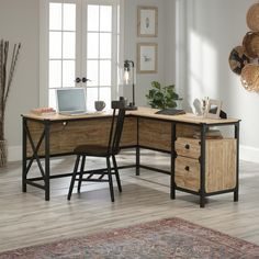 Add a wonderful appeal to your dwelling by using this SAUDER Steel River Milled Mesquite L-Shaped Desk. Textured, powder coated metal frame and corner accents. Desk Essentials, Home Office Desks, Cheap Office Furniture, Home, Retail Furniture, Home Office Design, L Shaped Desk, Rustic Desk, Office Design