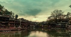 FengHuang city by Duothink  sky city sunset street water river beach travel blue night light clouds architecture china hunan fen
