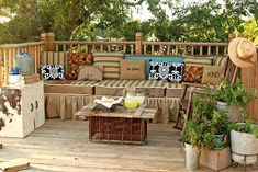 make your own outdoor furniture, crafts, outdoor furniture, outdoor living, painted furniture, We built a deck around our above ground pool and made out own bench Using outdoor fabrics and a few things we already had we made it a cozy spot to sit and watch the kids swim