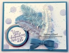 "Washi Tape Feathers  Stamps: Work of Art, Gorgeous Grunge.  Ink/Markers: Lost Lagoon, Smokey Slate, Versa Mark.  Paper: Whisper White, Lost Lagoon, Silver Foil.  Accessories: Big Shot, Circles Collection Framelits (3rd smallest), 1-3/4"" Circle Punch, 2"" Circle Punch, All is Calm Washi Tape (retired), Whisper White Baker's Twine, Lost Lagoon 3/8"" Stitched Satin Ribbon, Silver Embossing Powder.  www.simplysaidwithkaren.com"