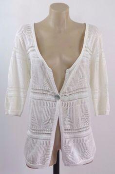 Plus Size 2XL 18 Ladies Cotton White Knit Top Cardigan Chic Casual Boho Design #Siana #Cardigan #Work