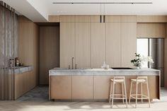 Kitchen Minimal Kitchen, Modern Kitchen Design, Interior Design Kitchen, Interior Decorating, Layout Design, Küchen Design, House Design, Beach House Kitchens, Home Kitchens