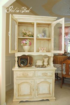 One Girl In Pink: French Country Cottage Cupboard...Love everything this girl does!!!