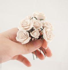 9 Wedding Hair Pins - Ivory Cream Roses, Wedding Hair Flowers, Bridal Hair Pins. $50.00, via Etsy.