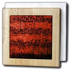 3dRose Musical Interlude in Red, Tile Napkin Holder, 6-inch