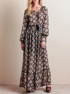 e01a4ea0a4 Chiffon Printed Waisted Bohemia Maxi Dress – oshoplive Elastic Waist,  Bohemian Dresses, Boho Chic