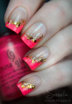 Love the unconventionality of this! The dip to one side is really cool. | See more about nail arts, gold nail art and nail designs.