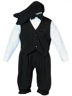 6f380e6434 Boys Black Pinstripe Knicker Set with Vest and Hat
