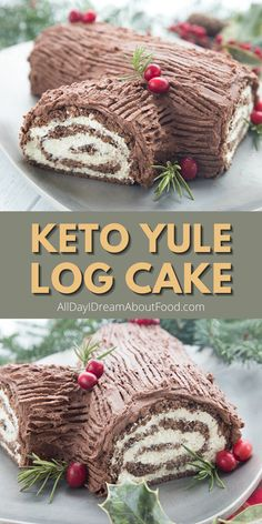 The classic yule log cake has been keto-fied! A delicious keto cake roll with sugar-free chocolate frosting. This amazing low carb cake will be the star of your holidays. And it's totally nut-free! Keto Cupcakes, Keto Cake, Cake Roll Recipes, Dessert Recipes, Recipes Dinner, Sugar Free Chocolate, Chocolate Frosting, Free Keto Recipes, Diabetic Recipes