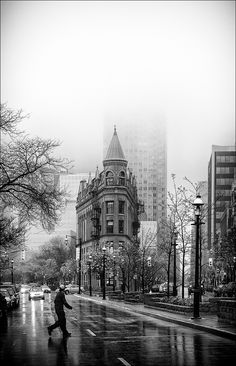Flatiron building at Front Street and Church on another rainy day. Urban Photography, Street Photography, Landscape Photography, Flatiron Building, Urban Life, Black N White Images, Perfect World, Urban Landscape, Flat Iron