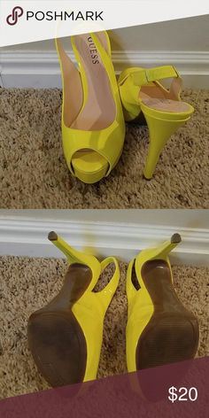 Guess 6.5 Guess Yellow Heels These are super cute bright yellow Guess heels. Open toe and will add a splash of color to your outfit. Guess Shoes Heels