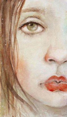 Watercolor print from original pretty face nice lips portrait  ❤ ⋆ Artist - Karen Jones Milstein