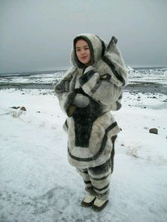 Caption: Amy Owingayak, youth researcher, models traditional Inuit clothing in Iqaluit, the capital of Nunavut. Inuit Clothing, Folk Clothing, Character Inspiration, Character Design, Inuit People, Folk Costume, Eskimo Costume, Comic Costume, Ethnic Dress