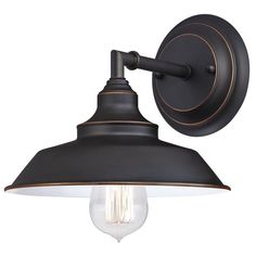 Features:  -1-light indoor wall fixture with vintage industrial design.  -Oil rubbed bronze finish; metal shade.  -ETL/CETL listed.  -Iron Hill collection.  Product Type: -Armed Sconces.  Style: -Indu