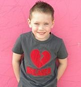 Boys BHB Boys Heart Breaker Valentine's Day Boutique Applique Charcoal Grey Shirt or Onesie