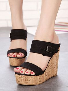Black, Strap, Two Part, Suedette, Wedge Sandals