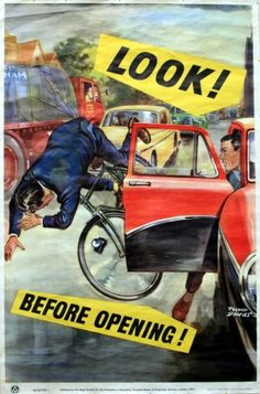 Look Before Opening, 1950s - Vintage Poster by Roland Davies http://www.antikbar.co.uk/product_detail/?pId=796
