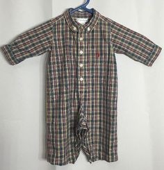 Ralph Lauren Romper 6m Plaid Boys Primary Colors Baby Easter Holiday Photo #RalphLauren #Holiday
