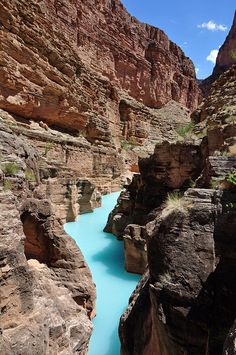 Grand Canyon: Mouth of Havasu Creek    The confluence of Havasu Creek with the Colorado River (river mile 157) is a popular place for boaters to stop and admire the striking blue-green water of Havasu Creek. The turquoise color is caused by water with a high mineral content. At the point where the blue creek meets the turbid colorado river there often appears a definite break.