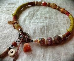 Rustic tribal amulet choker necklace silk wrapped by quisnam, $45.00