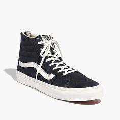 Vans® SK8-Hi Slim Zip High-Top Sneakers in Navy Suede