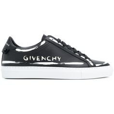 Givenchy Urban Street Leather Sneakers (€540) ❤ liked on Polyvore featuring shoes, sneakers, black, sport sneakers, black leather trainers, low profile sneakers, givenchy shoes and sports shoes