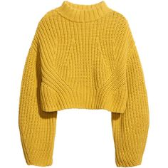 H&M Cropped jumper ($37) ❤ liked on Polyvore featuring tops, sweaters, jumpers, shirts, yellow, long sweaters, long shirt, cotton sweaters, h&m sweaters and long sleeve shirts