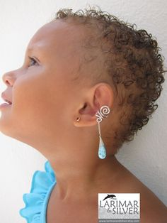 Ear cuff with Larimar Tribal Nymph  gorgeous by LarimarAndSilver, $39.00