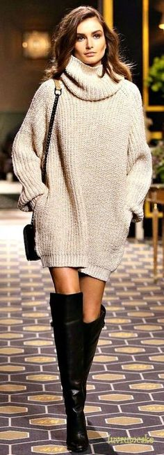 Oversized cowl neck sweater - looks comfortable and my hair is dark... I just might be able to pull this off now.