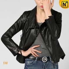 www.cwmalls.com PayPal Available (Price: $557.89) Email:sales@cwmalls.com; Fitted Cropped Black Leather Moto Jacket CW650036 A simply stunning moto leather jacket is expertly pieced from gorgeous lambskin leather and detailed with asymmetrical front zip. Our fitted silhouette black leather jacket makes you steal the show.