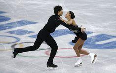 China's Pang Qing and Tong Jian during pairs short program at the Sochi 2014 Winter Olympics