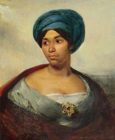 """Woman in a Blue Turban"" (c. 1827) Ferdinand Victor Eugène Delacroix. Oil on canvas. Dallas Museum of Art, Texas, USA."