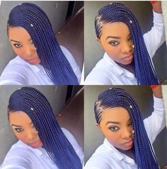Ghana Braids Ziz zag side parting on blue Ghana braids, a.k.a beyounce's braids. It's tinny, lovely colour and perfect for every lady.