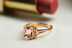 18 ct Rose Gold Morganite Engagement Ring-Solitaire Engagement Ring-Morganite Rose Gold Ring-Vintage Style Engagement Ring-Handmade to Order by DiorahJewellery on Etsy https://www.etsy.com/listing/469637512/18-ct-rose-gold-morganite-engagement