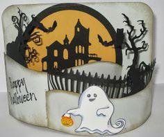 Super fun Halloween scene on a bendy card.  Tutorial included