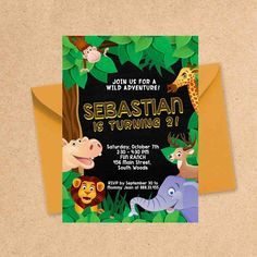 Animals in Zoo Birthday Party Invitation Design. Your Baby Boy or Girl went wild with this Safari themed invite. Zoo Birthday, Birthday Ideas, Invitation Design, Invite, Baby Boy Or Girl, Birthday Party Invitations, Christening, Creative Art, Signage