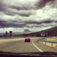 View of Gibraltar Rock driving in Spain